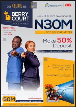 Berry Court 100% Dry Residential Land with Government Approved, Landmark Ikeja City Mall,lagos State Secretariat, Magodo Phase 2, Omole Phase 2, Ikeja, Lagos, Residential Land for Sale