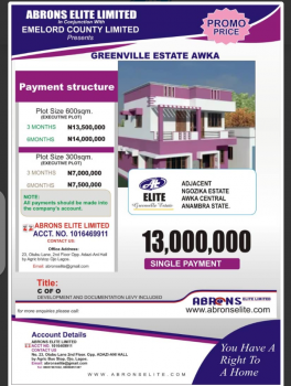 C of O Land, Green Ville Estate Located at Awka Central, Awka, Anambra, Mixed-use Land for Sale