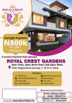 Most Cheapest Secured & Gated Land in  Good Area, Royal Crest Estate Atan Town, Ijebu North, Ogun, Land for Sale