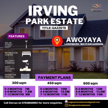 Irving Park Estate, 2 Minutes From Mayfair Gardens, Oribanwa, Ibeju Lekki, Lagos, Residential Land for Sale