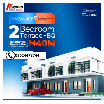 2 Bedroom Terrace +bq, Abraham Adesanya, Ajah, Lagos, Terraced Duplex for Sale
