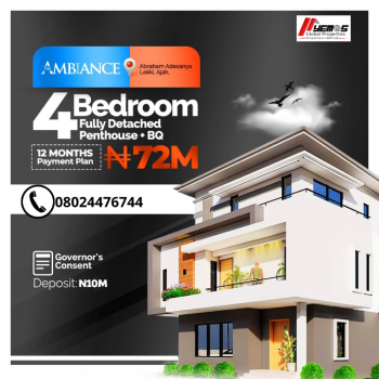 4 Bedroom Fully Detached Penthouse, Abraham Adesanya, Ajah, Lagos, Detached Duplex for Sale