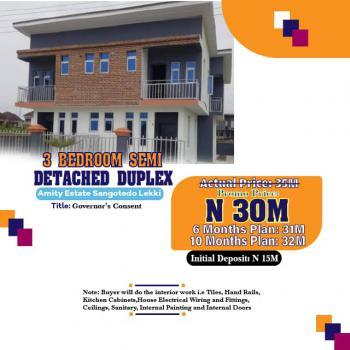 Three Bedroom Semi Detached, Sangotedo, Ajah, Lagos, Semi-detached Duplex for Sale