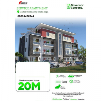 3 Bedroom Penthouse, Besides Amity Estate, Abijo, Lekki, Lagos, Self Contained (single Rooms) for Sale