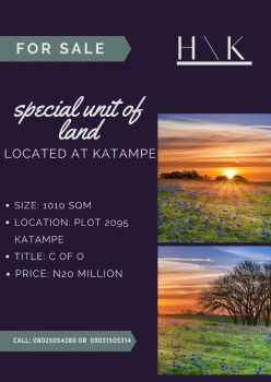 a Special Unit of Land, Plot 2095, Katampe, Abuja, Residential Land for Sale