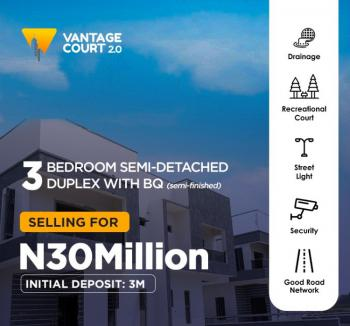 Beautiful 3 Bedroom Semi-detached Duplex with Bq, Vantage Court, Bogije, Ibeju Lekki, Lagos, Semi-detached Duplex for Sale