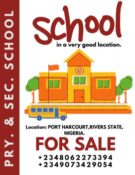 Primary and Secondary School in a Good Location, Port Harcourt, Rivers, School for Sale