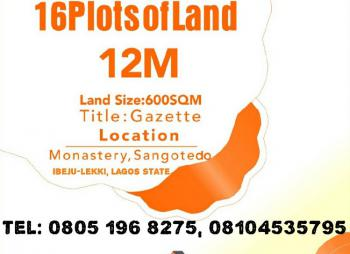 600sqm of Land, Monastery, Sangotedo, Ajah, Lagos, Residential Land for Sale