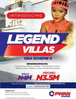 Land, Legend Villas, Oba Scheme 2, Idemili, Anambra, Residential Land for Sale