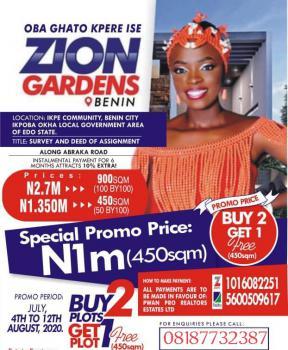 Affordable Land, Zion Gardens Ikpe Community Ikpoba Okha, Benin, Oredo, Edo, Mixed-use Land for Sale