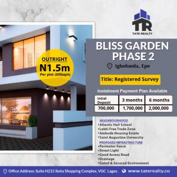Affordable Residential Land at Bliss Gardens Phase 2, Bliss Gardens Phase 2 Igbonla Ilara Close Augustine University, Epe, Lagos, Residential Land for Sale