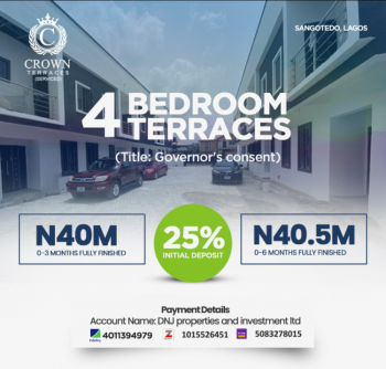 Luxury 4 Bedrooms Terraced Duplex in Built Up Location, Vintage Estate, Lekki - Epe Express, Sangotedo, Ajah, Lagos, Terraced Duplex for Sale