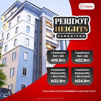 Luxurious 3 Bedroom Flat Plus Bq in Peridot Heights Estate, Skyview Housing Scheme, Adjacent Novare Mall, Sangotedo, Ajah, Lagos, Flat for Sale