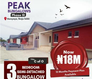 Beautiful 3 Bedroom Semi Detached Bungalow, Awoyaya, Ibeju Lekki, Lagos, Semi-detached Bungalow for Sale