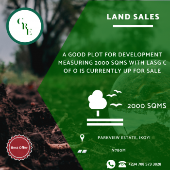 a Good Plot for Measuring 2000 Sqms with Lasg C of O, Parkview, Ikoyi, Lagos, Land for Sale