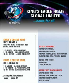Dry and Table Land, Kings and Queens Home, Umuoma, After Malaysia Street, Irete, Owerri West, Imo, Mixed-use Land for Sale
