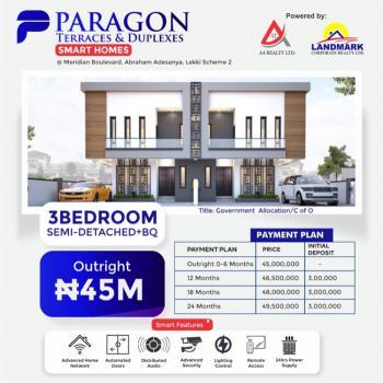 a 3 Bedroom Semi Detached with Bq. 24 Months Payment Plan Available, Meridian Boulevard, Lekki Scheme 2, Okun-ajah, Ajah, Lagos, Semi-detached Duplex for Sale