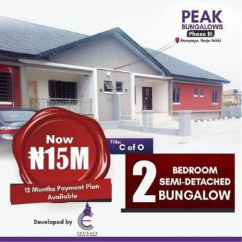 Luxury 2 Bedrooms Bungalow in a Very Conducive Area, Peak Bungalows Phase 3, Besides Mayfair Gardens, Awoyaya, Ibeju Lekki, Lagos, Semi-detached Bungalow for Sale