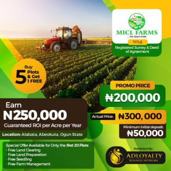 Farm with Registered Survey and Deed of Assignment, Alabata, Abeokuta North, Ogun, Commercial Land for Sale