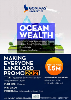 Making Everyone a Landlord 2021, Very Close to Okigwe Roundabout, Okigwe, Imo, Residential Land for Sale