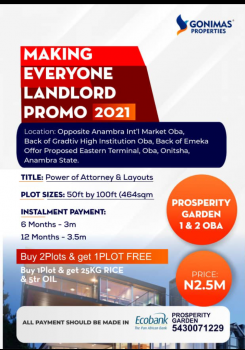Promo Making Everyone a Landlord, Close to Oba International Market, Onitsha, Anambra, Mixed-use Land for Sale