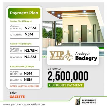 Affordable Land with Gazette, Vip Gardens Estate, Badagry, Lagos, Residential Land for Sale